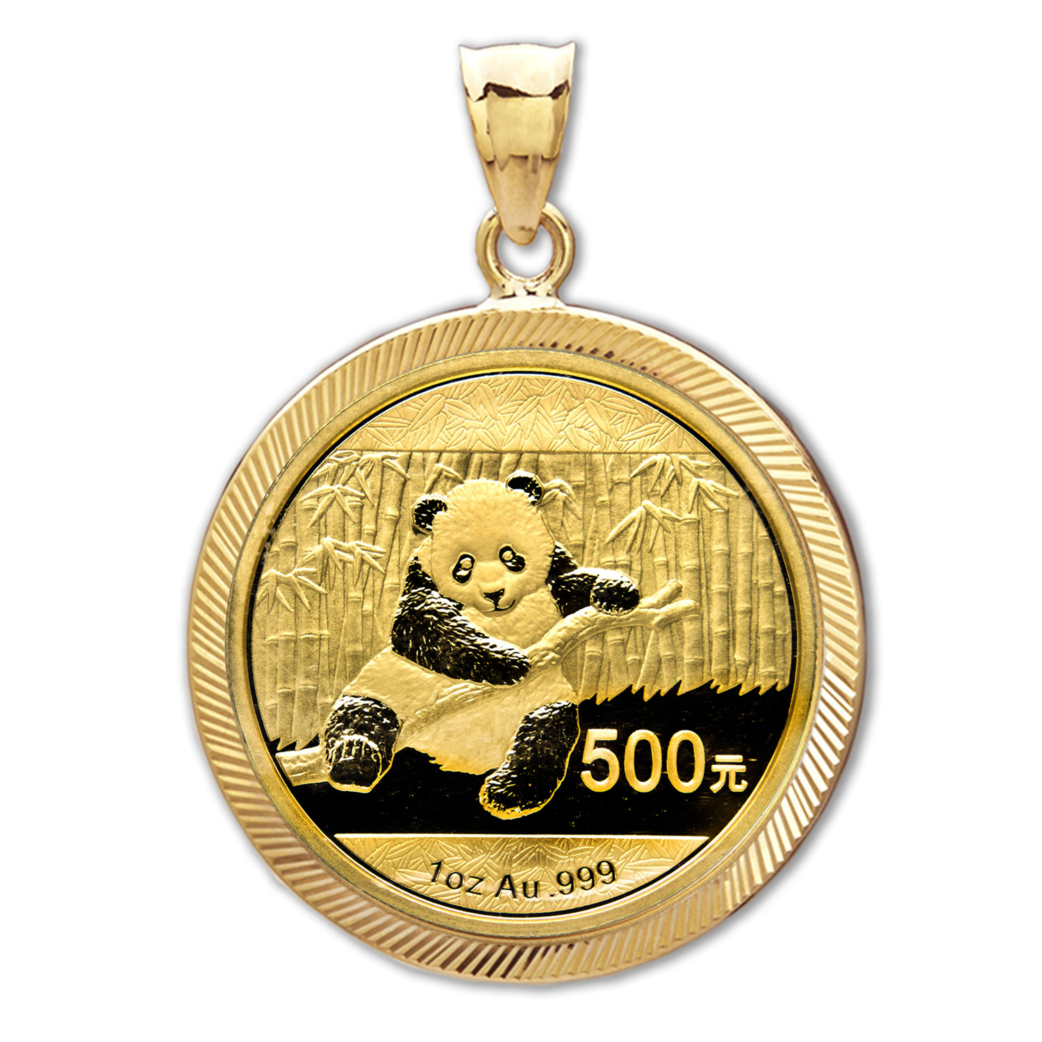 2014 1 oz Gold Panda Pendant (Diamond-Prong Bezel)